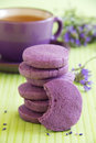 Shortbread with dried lavender and vanilla Stock Photos