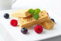Shortbread fingers tasty with fresh fruits and coffee Stock Image