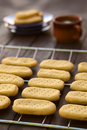 Shortbread homebaked biscuits on cooling rack with plates and cup of tea in the back selective focus focus on the front of the Royalty Free Stock Images