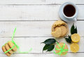 Shortbread lemon flavored cookies: a broken and connected green ribbon for a gift. Royalty Free Stock Photo