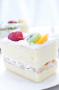 Shortcake with cream and fruits piece Royalty Free Stock Photos