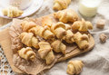 Shortcrust pastry crescent rolls croissants with brown sugar Royalty Free Stock Photo