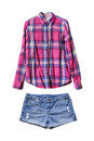 Shorts and blouse set of denim pink plaid shirt isolated over white Stock Image