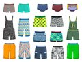 Shorts and panties for little boys for a walk or beach isolated on white background Stock Photos