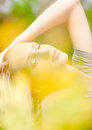 Shot of beautiful blonde woman at park closeup Royalty Free Stock Photo