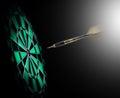 Shot of darts in bullseye on dartboard Royalty Free Stock Image