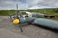 Shot down a german fighter plane from the second world war grotli village in skjak norway in this area was filmed movie telling Royalty Free Stock Photo