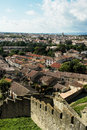 Shot from the fortress of the base city of carcassonne view in aude department france seen form walled Stock Images