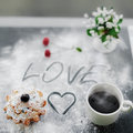 Shot of fresh english muffin and coffee for breakfest for lover image romantic breakfast in bed with cherry flowers on background Stock Photos