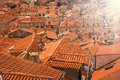 Shot full with red tile roofs old of dubrovnik town Royalty Free Stock Image