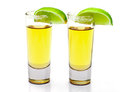 Shot of Gold Tequila with Slice Lime Royalty Free Stock Photo