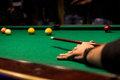 After a shot on the pool table Royalty Free Stock Photo