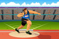 Shot putter in a shot put competition vector illustration of for sport series Stock Image