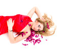 Shot sexy woman red dress rose petals isolated white background Stock Photos