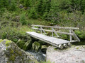 Shot wooden bridge over creek in Norway Royalty Free Stock Photos