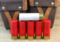 Shotgun cartridges 11 and 12 and hunting bag Stock Images
