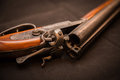 Shotgun double barrel for targets trap shooting and sporting clays Royalty Free Stock Images