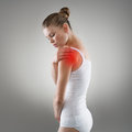 Shoulder pain young woman having in joint illness or fracture treatment concept Royalty Free Stock Image