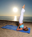 Shoulder stand yoga pose Stock Image