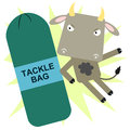 Shoulder tackle a cow tackling a bag Royalty Free Stock Photography