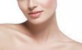 Shoulders neck lips Beautiful woman face close up portrait young studio on white Royalty Free Stock Photo