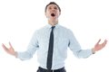 Shouting businessman on white background Royalty Free Stock Photography