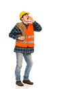 Shouting construction worker with rope on his shoulder full length studio shot isolated on white Stock Photography