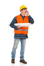 Shouting engineer construction worker with paper plan under his arm full length studio shot isolated on white Stock Photo