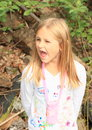 Shouting girl portrait of blond with opened mouth Stock Photo