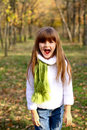 Shouting little girl in the autumn forest Stock Photography