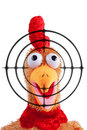 Shouting rooster toy with target on foreground Royalty Free Stock Photo