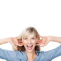 Shouting woman portrait of holding her ear while Royalty Free Stock Photos