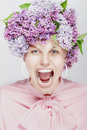 Shouting woman. Portrait of spring flowers. Stock Photos