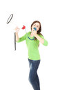 Shouting young woman with megaphone Royalty Free Stock Photos