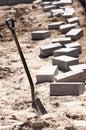 Shovel and bricks