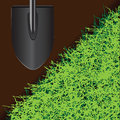 Shovel for farming on the ground with grass vector illustration Royalty Free Stock Photos