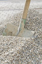 Shovel in a heap of grit old Royalty Free Stock Images