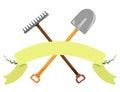Shovel, rake on a white background. Vector