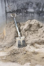 Shovel on sand tool construction site Royalty Free Stock Image