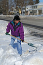 Shoveling snow Stock Photo