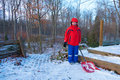 Shovelling snow eight year old caucasian boy Royalty Free Stock Photography