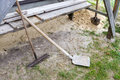 Shovels and rakes. Royalty Free Stock Photo