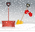 Shovels in the snow mittens storm Royalty Free Stock Photo