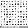 100 show business icons set, simple style