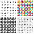 100 show business icons set vector variant