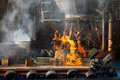 Show called waterworld explosion at the end of the live stunt in the universal studios hollywood Stock Photo