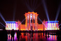 Show circle of light in moscow october illumination the building at an exhibition vdnh during the international festival on Royalty Free Stock Images
