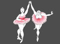 Show of fat women two charming are in ballet Stock Image