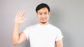 Show hand sign of hi and bye bye. Royalty Free Stock Photo