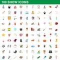 100 show icons set, cartoon style